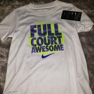 Nike dri fit size 5 white SS NWT top boys
